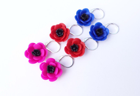 Anemone Simple Dangle Earrings in Hot Pink, Royal Blue and Red