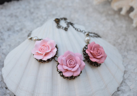 Trio Pastel Pink Rose Statement Necklace