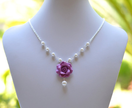 Hannah Centered Necklace in Dusty Plum Rose with Pearls