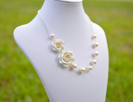 Celine Double Flowers Asymmetrical Necklace in Ivory Rose. FREE EARRINGS