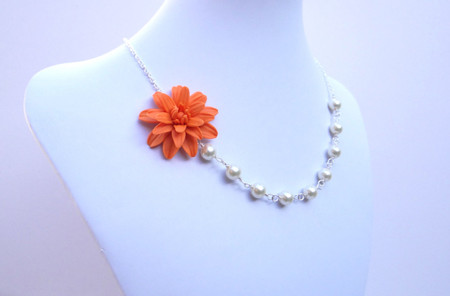 Leah Asymmetrical Necklace in Orange Dahlia. FREE EARRINGS