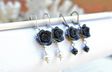 Tamara Statement Earrings in Black Rose
