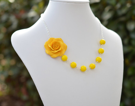 Brooklyn Asymmetrical Necklace in Golden Yellow Rose with Yellow Beads. FREE EARRINGS