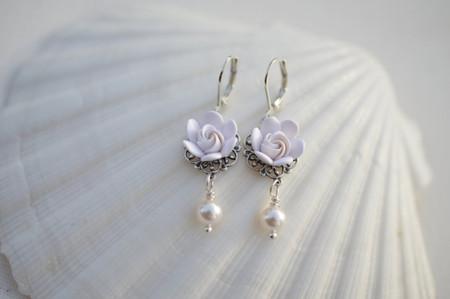 Beau Tamara Statement Earrings In White Gardenia Bud .