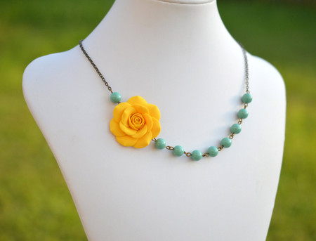 Jessica Asymmetrical Necklace in Golden Yellow Rose with Jade Green Pearls. FREE EARRINGS