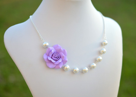 Jessica Asymmetrical Necklace in Lavender Rose. FREE EARRINGS
