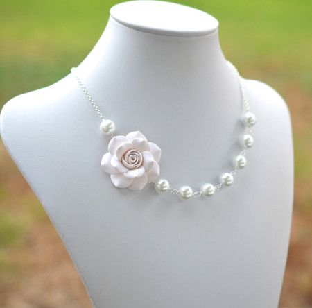 Jessica Asymmetrical Necklace in White Rose. FREE EARRINGS