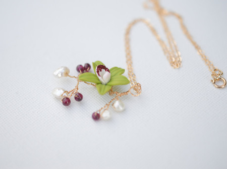 Diana Drop Necklace in Green Cymbidium Orchid and 14K Gold Filled Chain