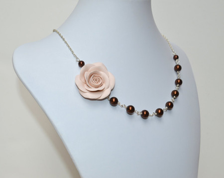 Alysson Asymmetrical Necklace in Ecru Rose with Chocolate Glass Pearls. Free Earrings