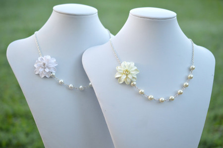 Leah Asymmetrical Necklace in Ivory Or White Dahlia. FREE EARRINGS