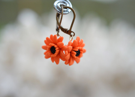 Orange Gerbera Daisy Simple Dangle Earrings.
