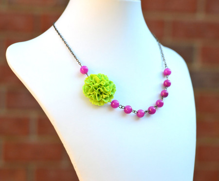 Leah Asymmetrical Necklace in Green Carnation with Fuchsia Jade. FREE EARRINGS