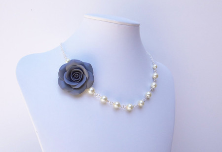 Alysson Asymmetrical Necklace in Grey Rose and Pearls. Free Earrings.