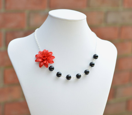 Brooklyn Asymmetrical Necklace in Red Dahlia and Black Beads. FREE EARRINGS