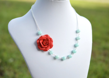 Leah Asymmetrical Necklace in Succulent Red with Aqua Blue Stones. FREE EARRINGS