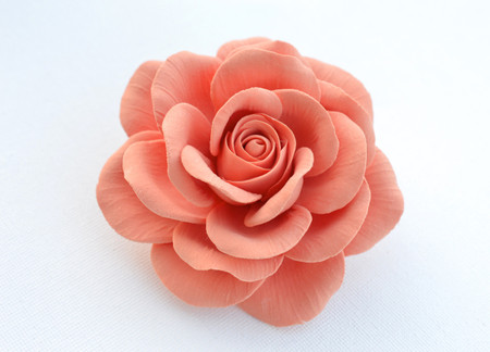 Caroline Hair Clip in Coral Rose. LARGE