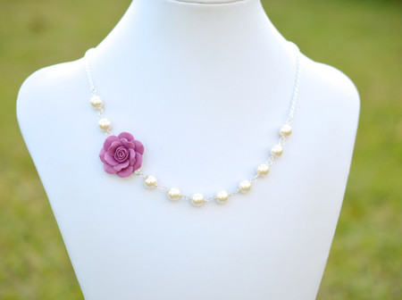 Alice Asymmetrical Necklace in Dusty Plum Rose. FREE EARRINGS