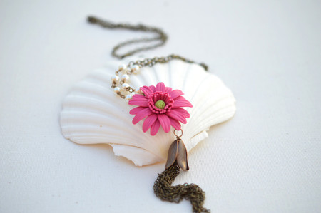 Long Tassel Necklace in Pink Fruit Punch Gerbera Daisy with Pearls