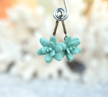 Dusty Mint Succulent Simple Dangle Earrings
