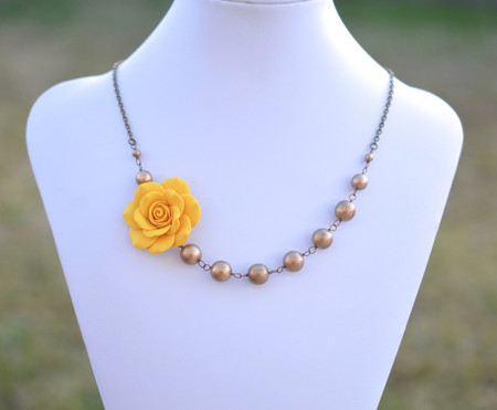 Jenna Asymmetrical Necklace in Golden Yellow Rose with Antique Gold Beads. FREE EARRINGS