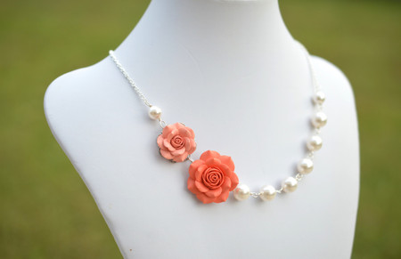 Celine Double Roses Asymmetrical Necklace in Light Coral and Coral Orange Rose. FREE EARRINGS
