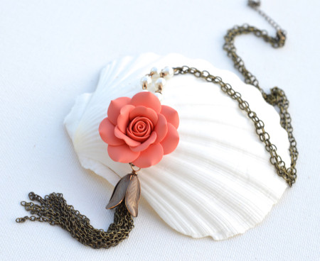 Long Tassel Necklace in Coral Rose with Pearls