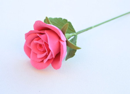Hot Pink Rose with Leaves Stem
