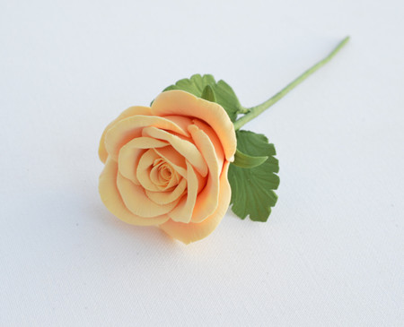 Peach  Rose with Leaves Stem