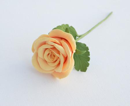 Peach  Rose with Leaves Stem