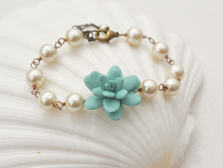 Andrea Link Bracelet in Dusty Mint Succulent