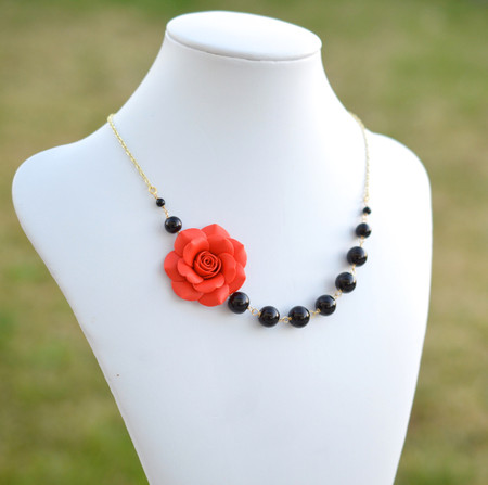 Jenna Asymmetrical Necklace in Fire Red Rose with Black Beads. FREE EARRINGS
