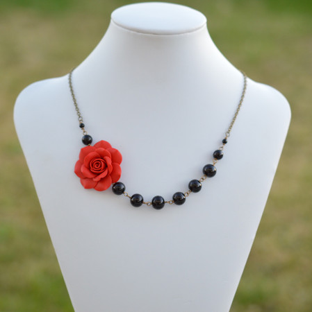 Jenna Asymmetrical Necklace in Succulent Red Rose with Black Beads. FREE EARRINGS