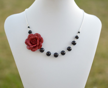 Jenna Asymmetrical Necklace in Garnet Red Rose with Black Beads. FREE EARRINGS