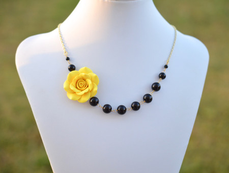 Jenna Asymmetrical Necklace in Sunshine Yellow Rose with Black Beads. FREE EARRINGS