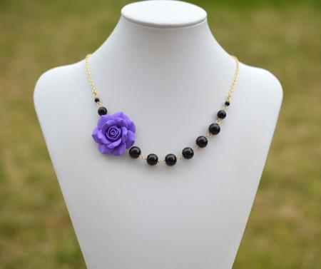Jenna Asymmetrical Necklace in Amethyst Purple Rose with Black Beads. FREE EARRINGS