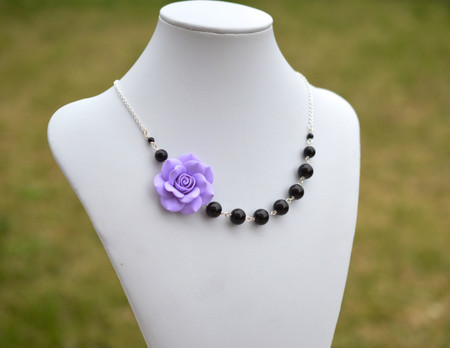 Jenna Asymmetrical Necklace in Lavender Purple Rose with Black Beads. FREE EARRINGS