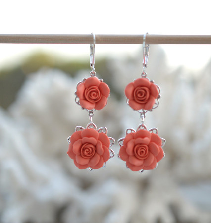 Mardy Double Roses Statement Earrings in Coral
