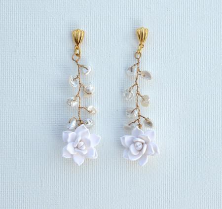 White Succulent Vine Earrings.