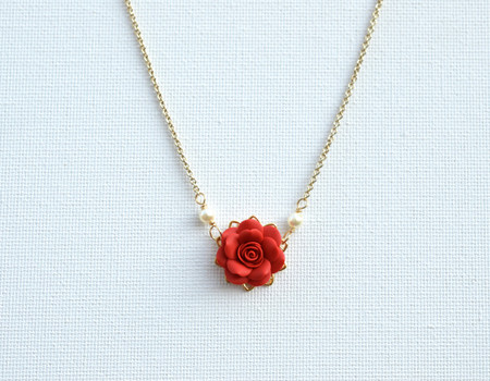 Bradley Delicate Drop Necklace in Succulent Red