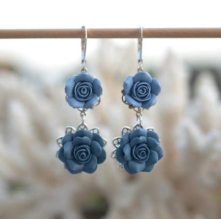 Mardy Double Roses Statement Earrings in Dusty Blue and Claudy Blue.