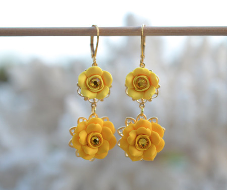Bianca Double Roses Statement Earrings in Golden Yellow and Sunshine Yellow with Yellow Crystals.