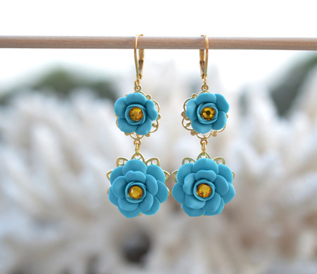 Bianca Double Roses Statement Earrings in Turquoise Blue with Yellow Crystals