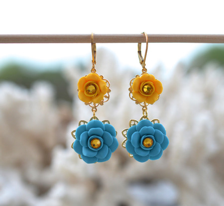 Bianca Double Roses Statement Earrings in Turquoise Blue and Golden Yellow