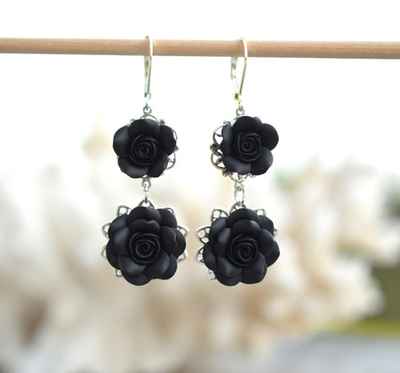 Mardy Double Roses Statement Earrings in Black