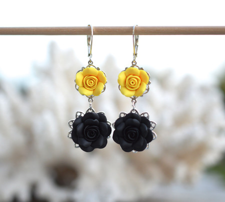 Mardy Double Roses Statement Earrings in Black and Sunshine Yellow
