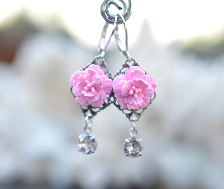 Beatrice Statement Earrings in Pink Cherry Blossom With Crystals