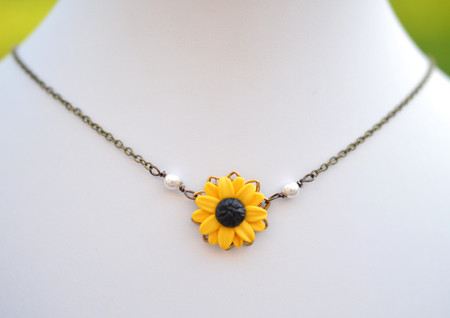 Bradley Delicate Drop Necklace in Golden Yellow Sunflower.
