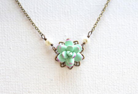 Bradley Delicate Drop Necklace in Light Mint-Purple Succulent.