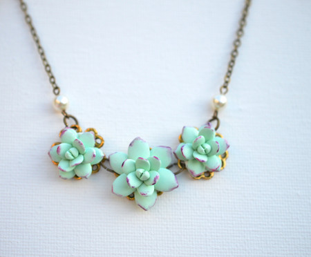 Trio Light Mint Green Succulent-Purple Necklace