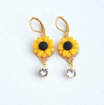 Beatrice Statement Earrings in Golden Yellow Sunflowers With Crystals